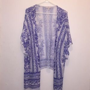 White and Purple Wrap Cardigan